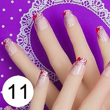 Amazon 24pcs Full Cover Fake Nail Art Design With Nail