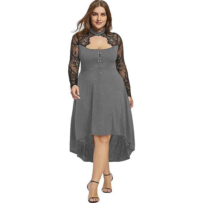 Mujer Vestido de Fiesta Cóctel Mangas Largas Vestido Elegante de Encaje Floral Vestido Asimétrico con Abertura