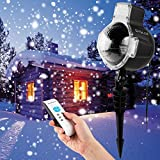 Syslux LED Snowfall Projector Lights, IP65 Waterproof Sparkling Landscape Projection Light for Decoration Lighting with Remote Control, 32ft Power Cable on Christmas Halloween Holiday Party