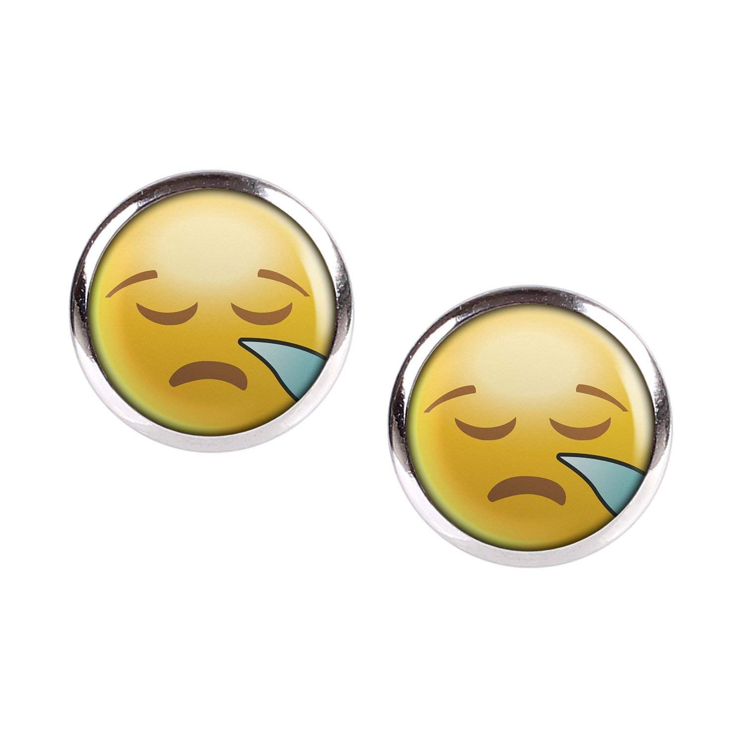 40 silver different sizes Stud Earring Pair with Cabochon Picture Emoji smileys Smiley face no