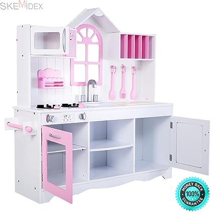 Amazon.com: SKEMIDEX---Kids Wood Kitchen Toy Cooking Pretend Play ...