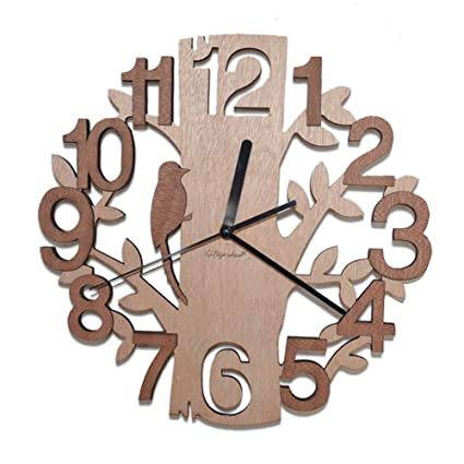 Giftgarden Tree Shaped Wall Clock Wood Decorations Housewarming Clocks