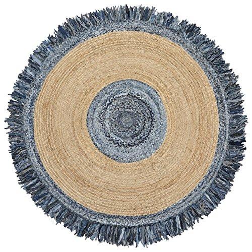 Blue Jeans Denim/Hemp Round Racktrack (3'x3') Rug