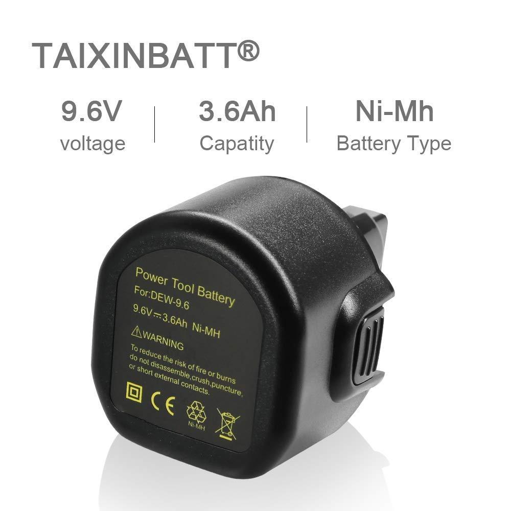 3.6Ah Ni-MH Replacement for Dewalt 9.6 volt Battery Dw9061 Dw9062 De9036 De9062 Dw926 Dw955K Dw955 Dw926K-2 Dw926k Dw902 Dw050 De9061 Dw955K-2 Dw050K Replacement for Dewalt 9.6v Battery Tai Xin Nuo