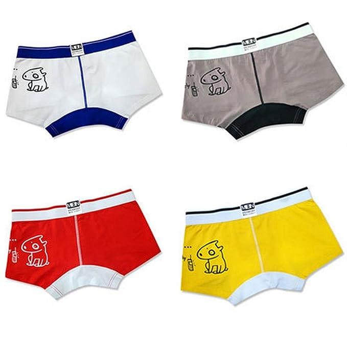 Juventud Boxer Shorts Algodón Gracioso Dibujos Animados Hombres Troncos de la Ropa Interior Cómoda Cómoda Transpirable