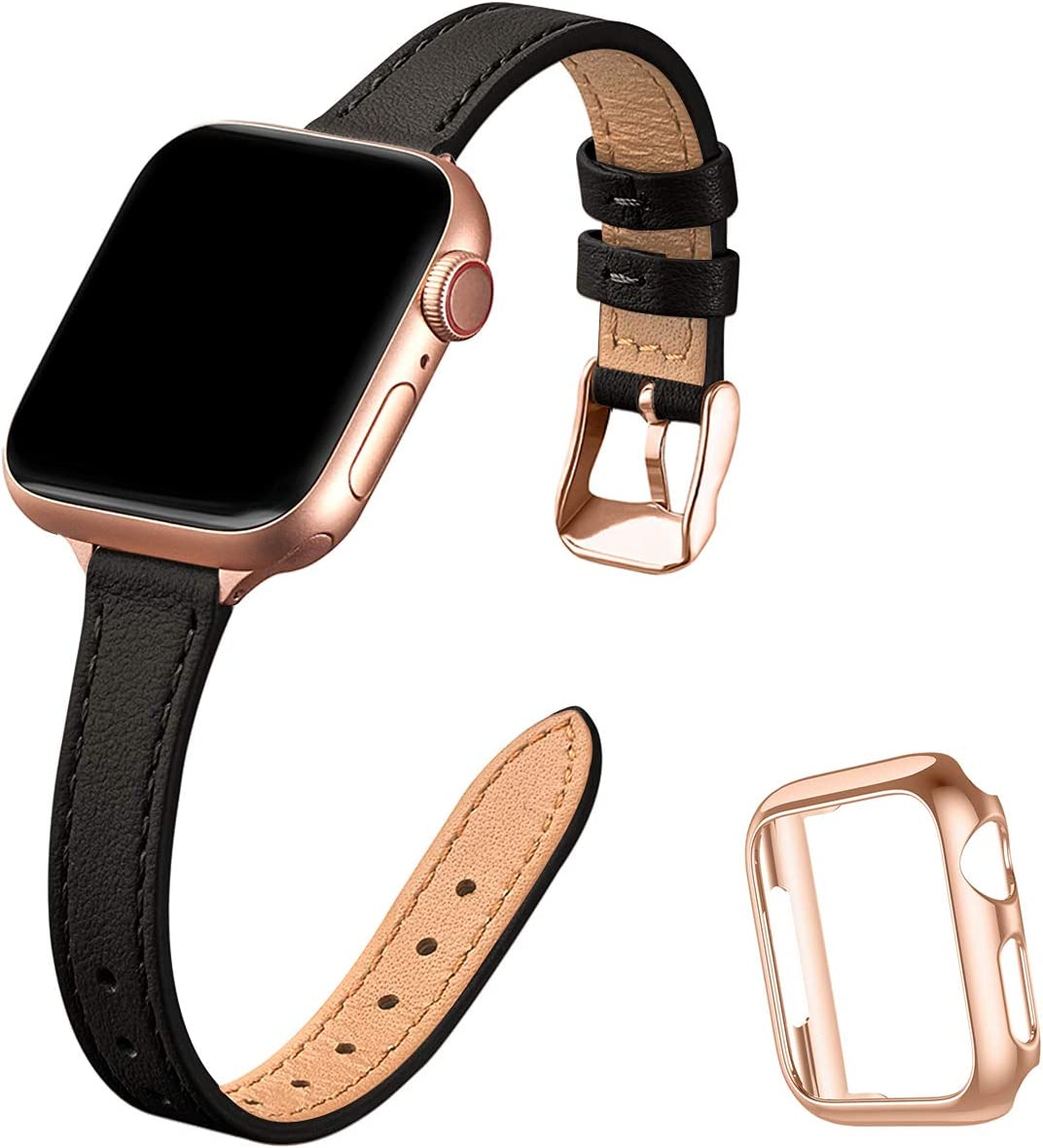 STIROLL Slim Leather Bands Compatible with Apple Watch Band 38mm 40mm 42mm 44mm, Top Grain Leather Watch Thin Wristband for iWatch SE Series 6/5/4/3/2/1 (Black with Rose Gold, 38mm/40mm)