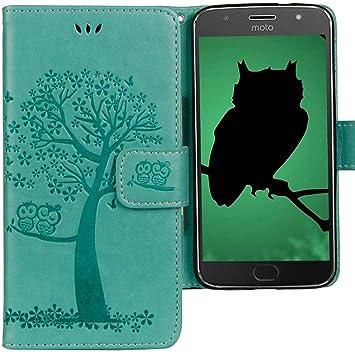 CLM-Tech Funda para Motorola Moto G5S Plus, Carcasa Cuero sintético, Flip Case con Soporte y Ranuras para Tarjetas, Árbol búho Verde