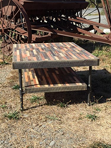 25% OFF SALE - Barn wood Coffee Table - Industrial Furniture - Modern Reclaimed Barn Wood Rustic Wood and Vintage Steel Legs
