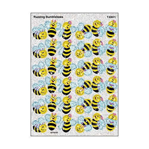 Stickers Bumble Bee - Trend Enterprises Buzzing Bumblebees Sparkle Stickers (72 Piece), Multi