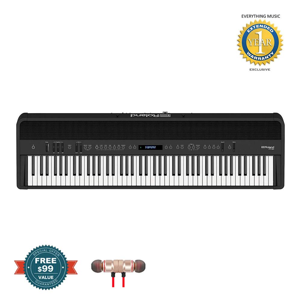 Roland FP-90 88-Key Digital Piano (Black) includes Free Wireless Earbuds - Stereo Bluetooth In-ear and 1 Year Everything Music Extended Warranty by Roland