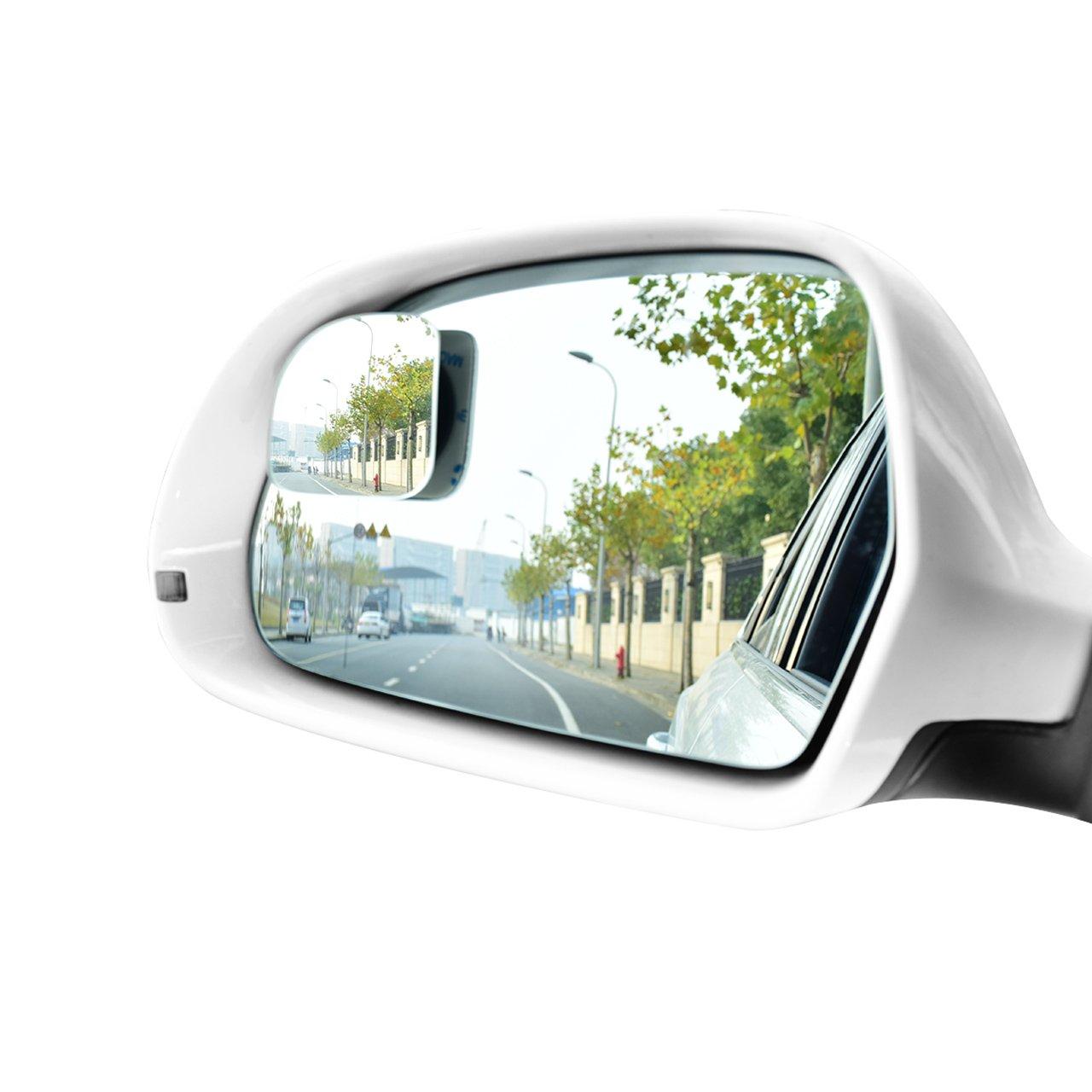 DEDC 2 Pezzi Specchietti per Angolo Morto Specchio Grandangolare a 360° Convesso Adesivo Specchio Retrovisore per Angolo Morto per Auto SUV Camion