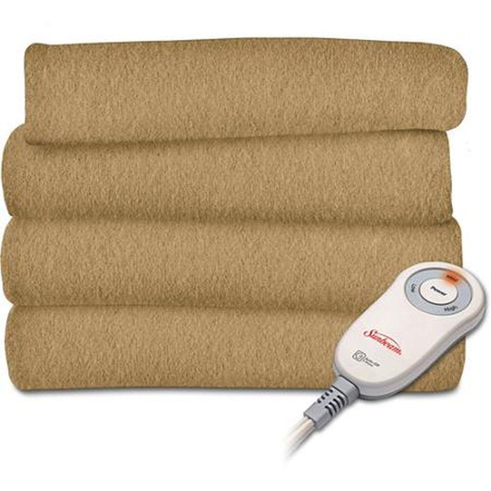 Sunbeam Fleece Heated Electric Throw Blanket Electric Acorn Tan Warming