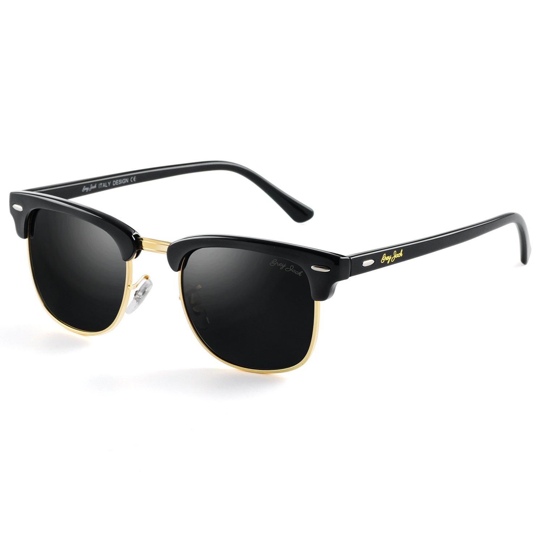 652026f9363a Amazon.com  GREY JACK Classic Polarized Half Frame Mirrored Sunglasses  Fashion Eyeglasses for Men Women Black Frame Black lens  Clothing