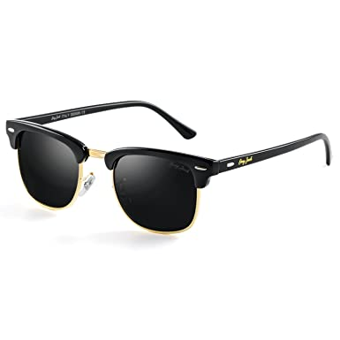 743c0e6259 GREY JACK Classic Polarized Half Frame Mirrored Sunglasses Fashion  Eyeglasses for Men Women Black Frame Black