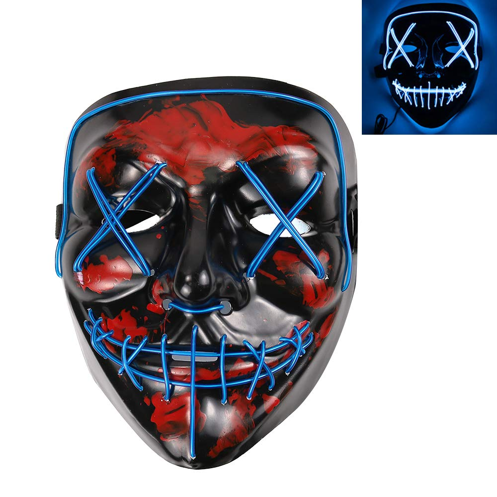 WYHTB Halloween Scary Mask Light Up Mask LED Costume Mask for Festival Parties