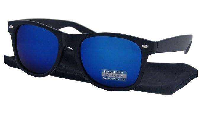 b4c50badee652 Lunettes de Soleil Style Retro Vintage 80's - Verres Effet Miroir Bleu - Monture  Noir -