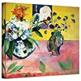 Paul Gauguin 'Flowers and a Japanese Print' gallery-wrapped canvas is a high-quality canvas print that captures a contrast of Tahitian, Japanese, an French themes. Bold floral colors and a lack of relief define this post-impressionist work. Eugene He...
