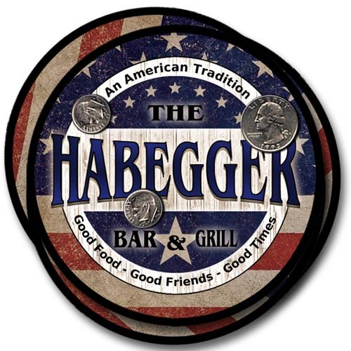 Habegger Bar&Grill Family Name Neoprene Rubber Coasters for sale  Delivered anywhere in USA