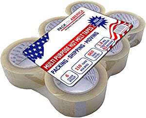 """Packing and Shipping Clear Tape - 6 Rolls, 110 Yards x 1.8 Mil x 1.88"""" Widht, Multipurpose Eco Adhesive Tapes for Moving Boxes, Carton Sealing, Warehouse, Home and Office Mailing, by Pack of America"""