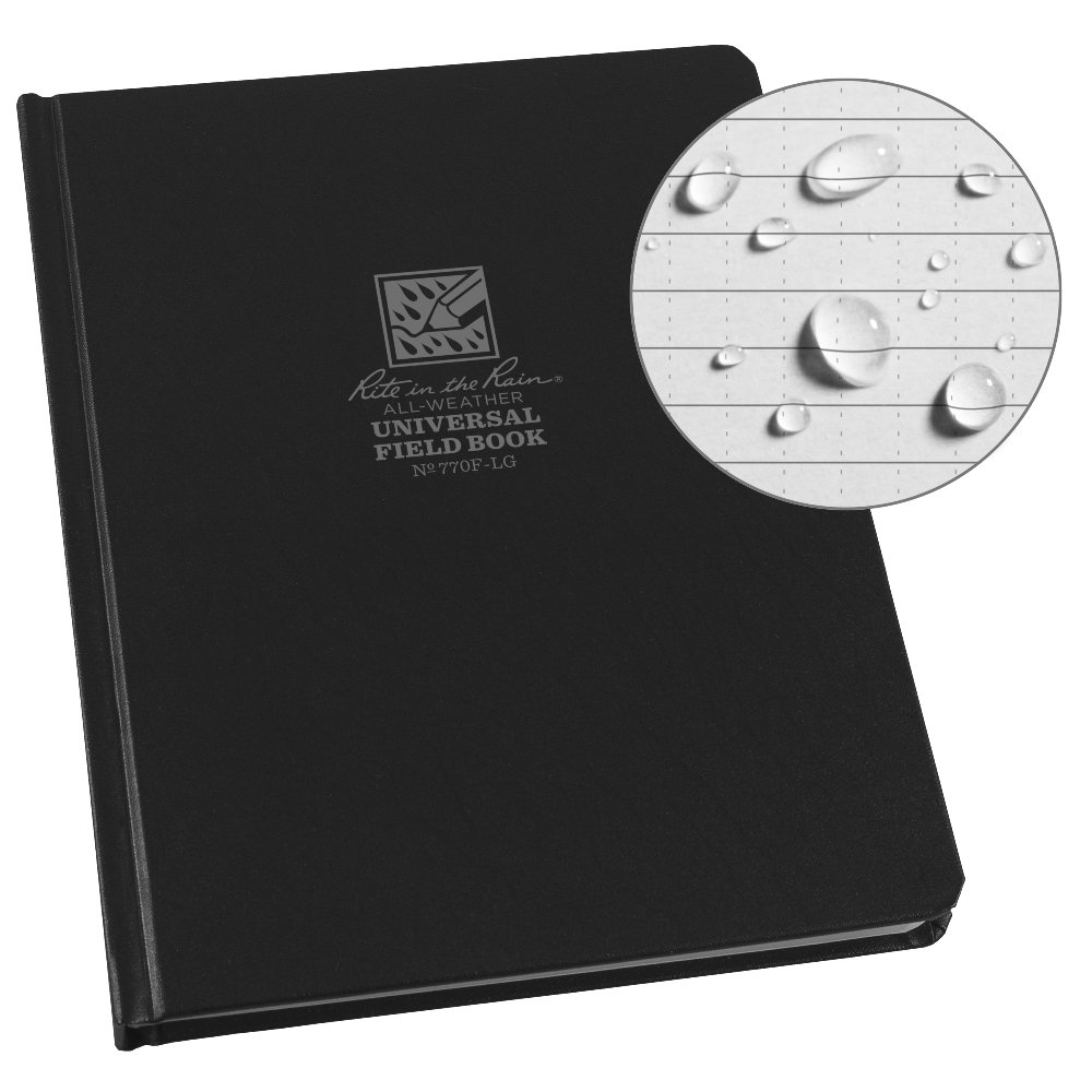 Rite in the Rain Weatherproof Hard Cover Notebook, 6 3/4'' x 8 3/4'', Black Cover, Universal Pattern (No. 770F-LG)