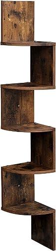 VASAGLE Corner Shelf, 5-Tier Floating Wall Shelf with Zigzag Design, Bookshelf, Rustic Brown ULBC20BX