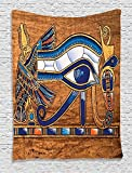 Egyptian Tapestry by Ambesonne, Egyptian Ancient Art Papyrus Depicting Eye Mosaic Style Design, Wall Hanging for Bedroom Living Room Dorm, 40 W X 60  Inches, Navy Blue Orange and Brown