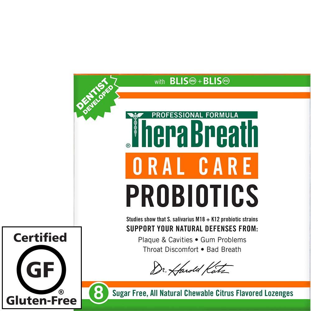 TheraBreath Oral Health Probiotic Supplement, Citrus Flavor, 8 Chewable  Lozenges