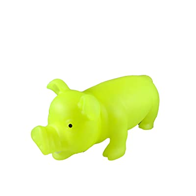 Glow in The Dark Squeeze Me and Oink Piggie by Animolds Size 8 inch Different Colors Great for Kids (Yellow): Office Products