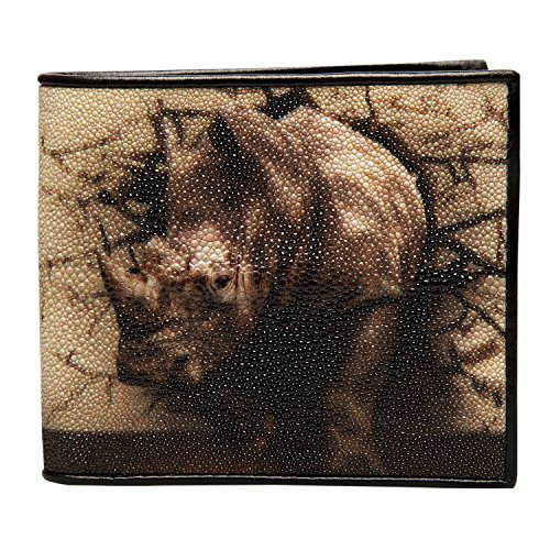 Stingray Bi-Fold Genuine Leather Rhino Print Wallet - Dark (Dark Brown Rhino)