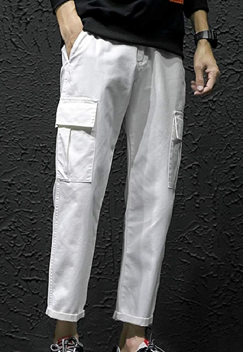 YUNY Men Solid Multi-Pockets Straight Casual Cargo Combat Work Pants White 29