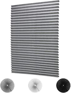 LUCKUP 3 Pack Cordless Light Filtering Pleated Fabric Shade,Easy to Cut and Install, with 6 Clips (48