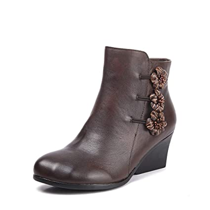 DANDANJIE Botines para Mujer Zapatos de tacón de cuña Vintage Botines para Damas para 2018 Otoño