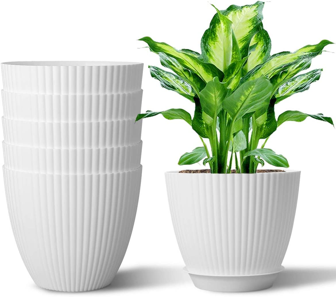 6 inch Plastic Plant Pot Indoor Modern Decorative Planters with Drainage and Saucer for Seedling Nursery, Herbs, Cactus, Windowsill Gardens, Pack of 6 - Plants No Include, Cream White