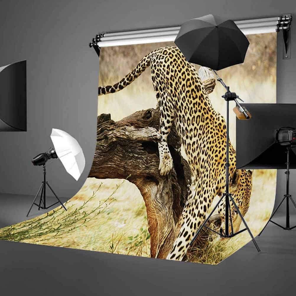 Safari 8x10 FT Photo Backdrops,Leopard On Tree Trunk Desert Plants Exotic Hunter Predator Big Cat Image Background for Photography Kids Adult Photo Booth Video Shoot Vinyl Studio Props