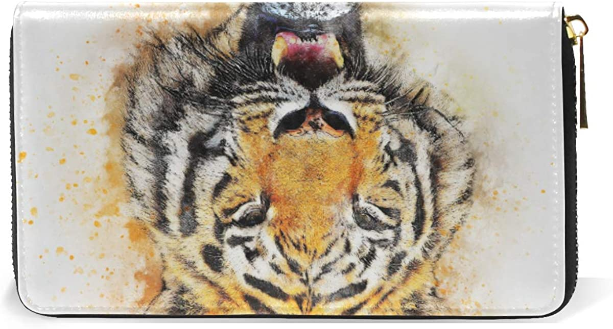 King Watercolor Tiger Wallet Real Leather Purse Credit Card Holder for Women Phone Girl