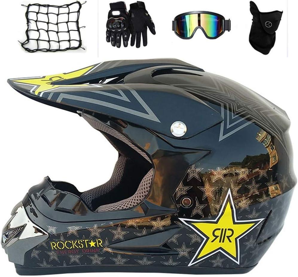Motocross Helm Schutzbrille Handschuhe D.O.T zertifizierter Rockstar Unisex-Adult Leichte ATV Offroad Helm MTB Full Face Crash Helme