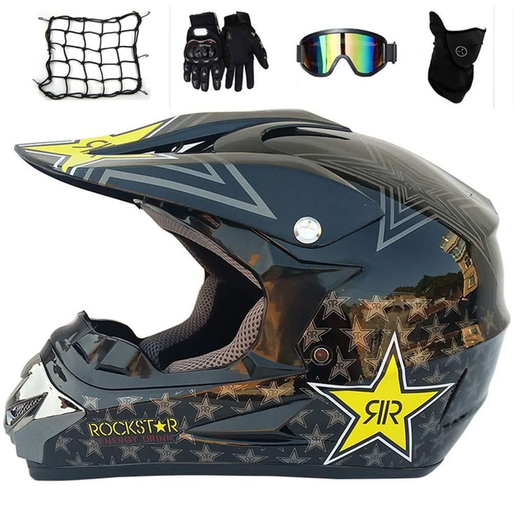 キッズモトクロスヘルメットセット(5個)、ブラック/ロックスター、取り外し可能なイヤーパッド付きフルフェイスMTBヘルメット、オフロードATVクワッドバイクダウンヒル用バイク保護ギヤ,S S