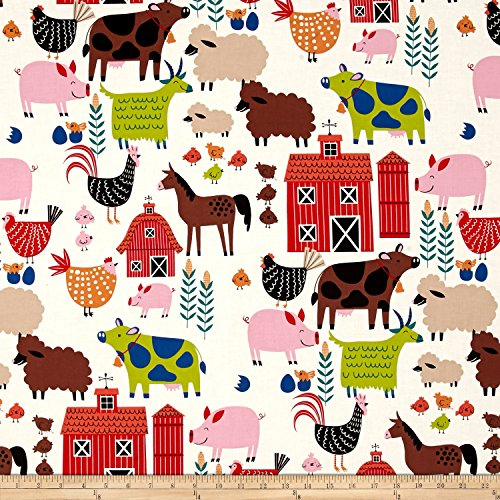 Eieio Farm - Alexander Henry in the Kitchen E-I-E-I-O Fabric by the Yard, Tea