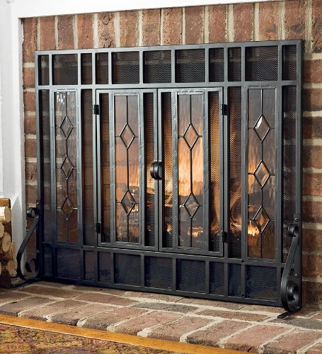 Glass Diamond Fireplace Screen With Powder-Coated Tubular Steel Frame and Tool Set, in Black ()