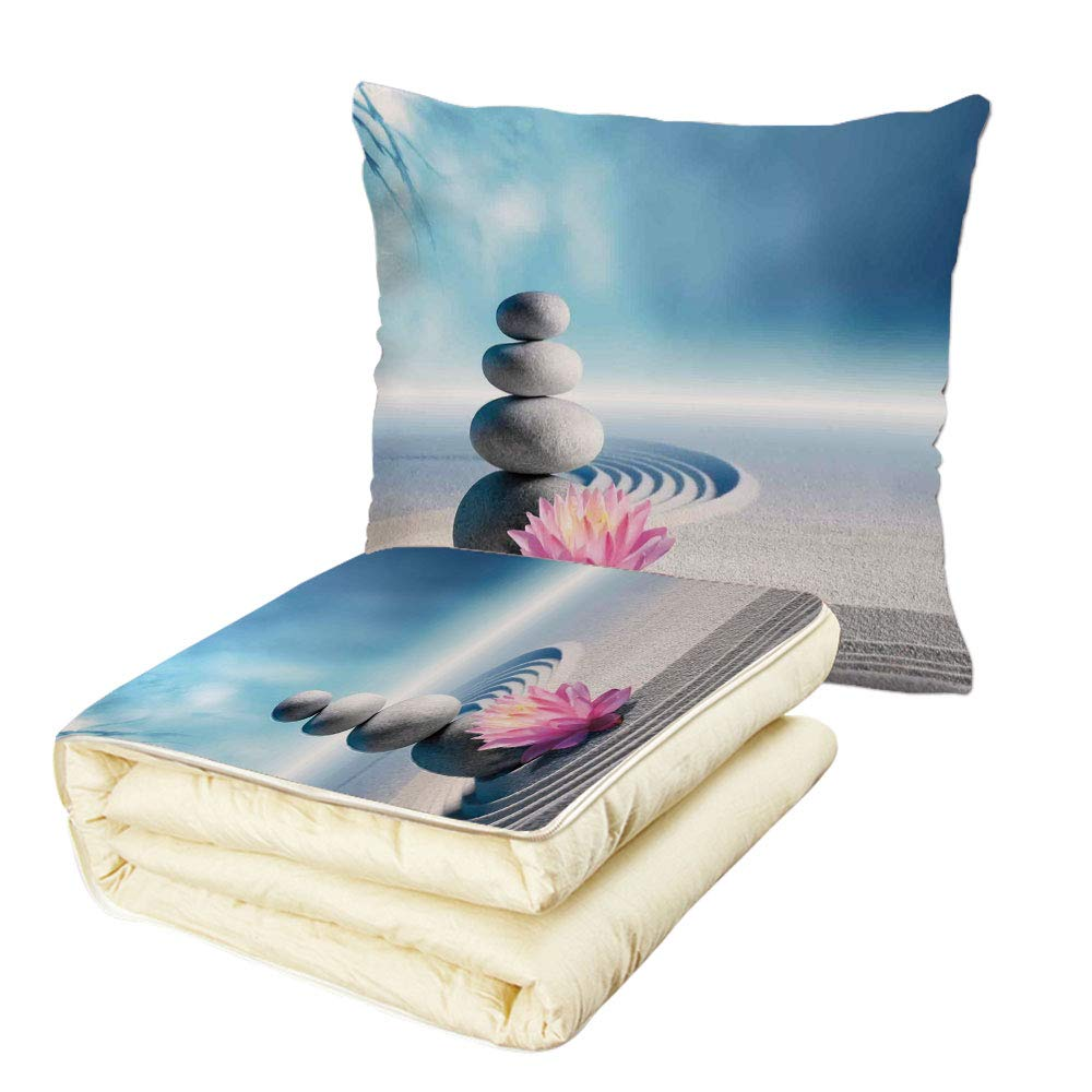 Quilt Dual-Use Pillow Spa Decor Stones and Lotus Flower Over Sand Meditation Harmony Balance Flourish Your Spirit Theme Multifunctional Air-Conditioning Quilt Grey Blue Pink