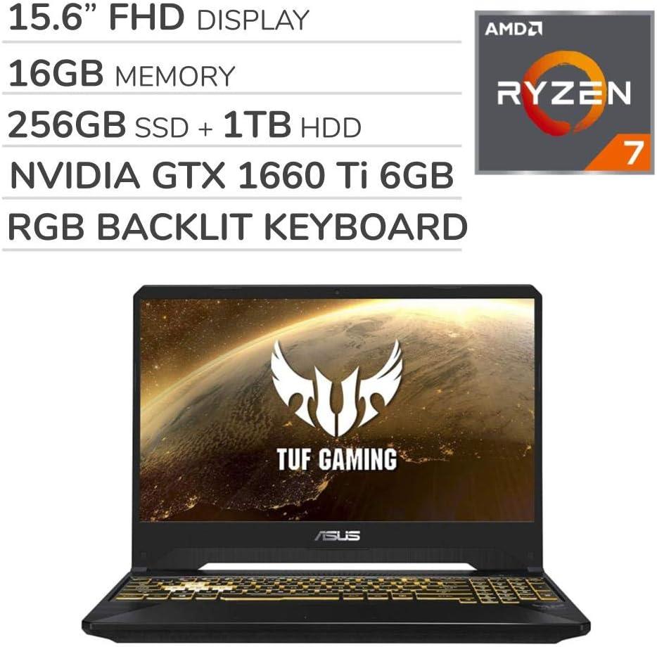 ASUS TUF Gaming 2019 15.6'' FHD Laptop Notebook Computer, AMD Ryzen 7 R7-3750H 2.3GHz, GTX 1660 Ti 6GB Graphics, 16GB RAM, 256GB SSD, 1TB HDD,RGB Backlit Keyboard,Wi-Fi,Bluetooth, Webcam,HDMI,Win 10