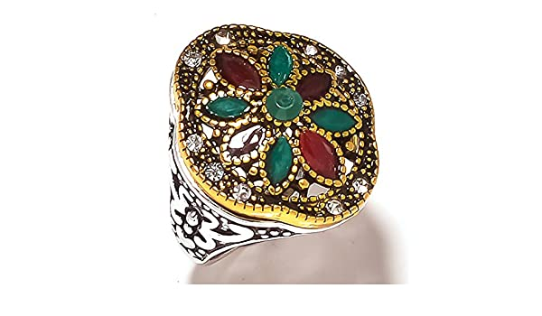 Exotic Turkish Style Handmade Dyed Ruby /& Emerald Silver Plated-Brass Ring Multi-Size In US
