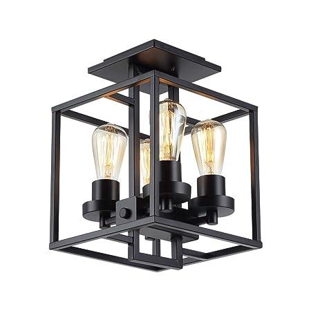 YCLED Lámparas de Techo Loft Industrial Restaurante Araña Cuadrado ...