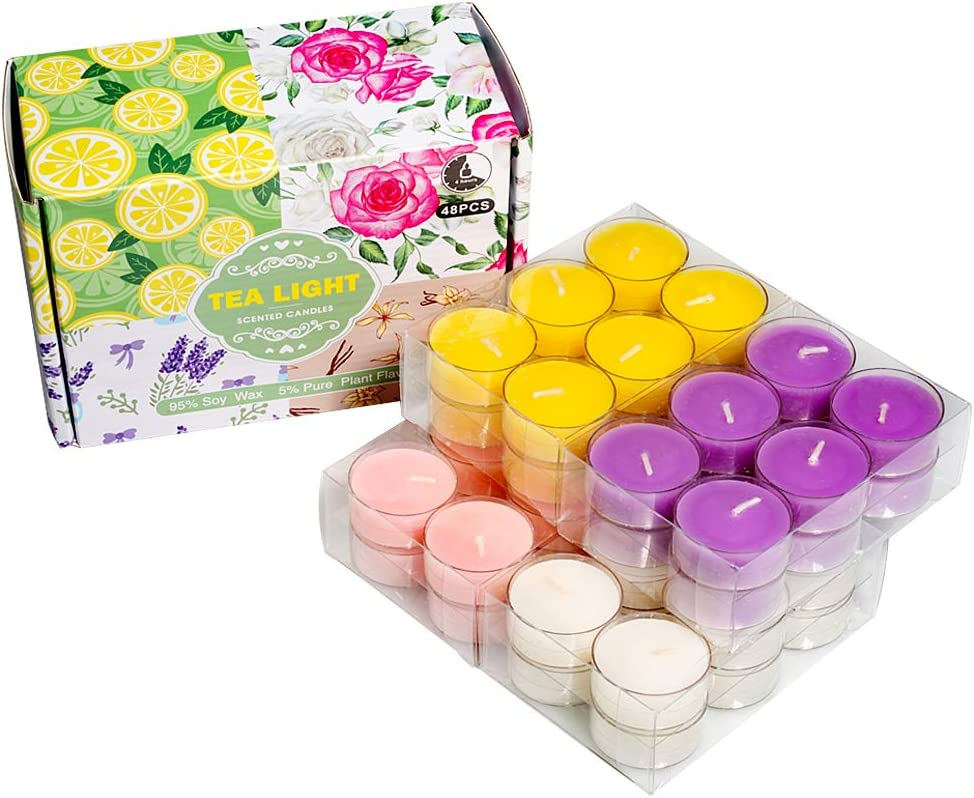 Scented Tea Lights Candles Bulk for Home,48Pack Aromatherapy Candle Soy Wax for Candle Holder and Gifts Sets for Women|Small Mini Candles for Home Decor.