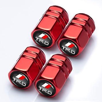 Tundra Tacoma 4runner,Yaris,Camry Highlander Avalon Logo Styling Decoration Accessories Supercharger Goshion 4 Pcs Metal Car Wheel Tire Valve Stem Caps for Toyota TRD Fj Cruiser