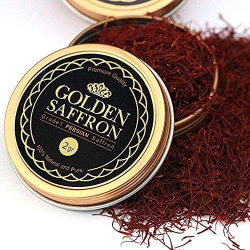 Golden Saffron, Finest Pure Premium All Red Saffron Threads, Grade A+, Highest Grade (2 Grams)