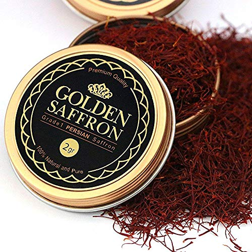 Golden Saffron, Finest Pure Premium All Red Saffron Threads, Grade A+, Highest Grade (2 Grams) (Best Quality Saffron In The World)