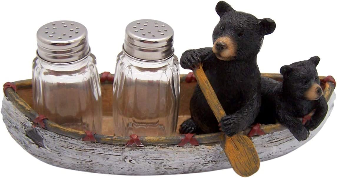 Bear and Cub in Canoe Salt and Pepper Shaker Set (Shakers Included)