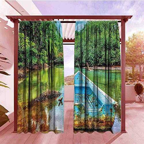 DGGO Curtains Rod Pocket Two Panels Landscape Old Boat in Tropical River in National Park of Costa Rica Nature Photo Rod Pocket Curtain Panels W108x84L Green Brown and Aqua