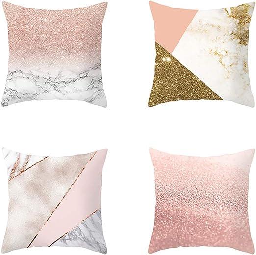 Rrunzfon Cojín Funda de Almohada Cuadrada de 4 PC algodón Almohada Sofá Inicio Coche Cubre la decoración de Color de Rosa: Amazon.es: Hogar